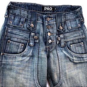 D&G Wide Leg Button Fly Utility Jeans 10 Pockets